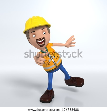 3D Cartoon male worker on white background pointing at audience - stock photo