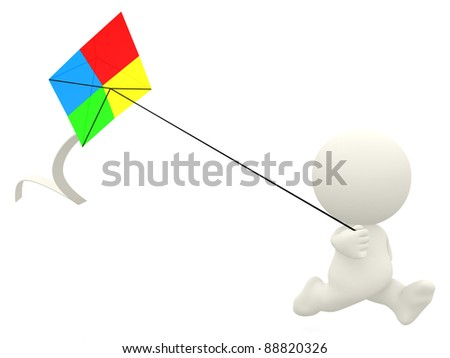 3D cartoon man flying a kite - isolated over a white background