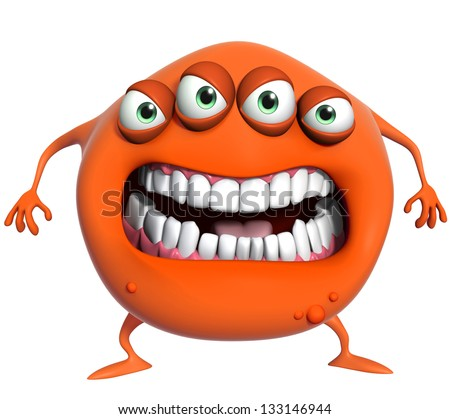 3d cartoon monster - stock photo