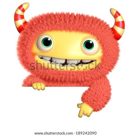 3d cartoon monster - stock photo