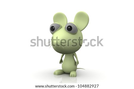 3D Cartoon Mouse on white background