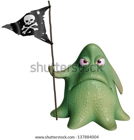 3d cartoon octopus monster - stock photo