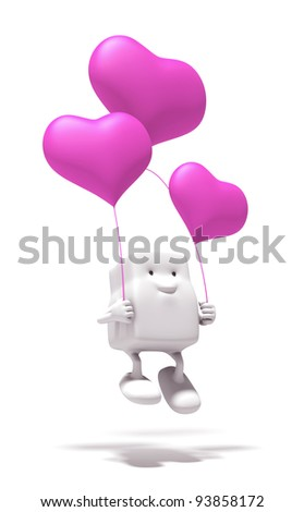 3d cartoon of fall in love on a white background. Isolated