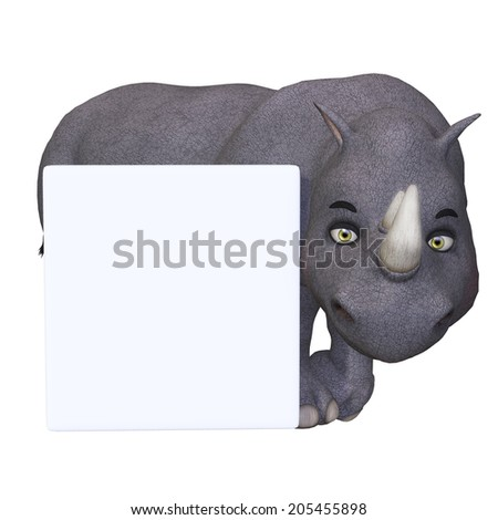 3d cartoon rhino with a blank sign