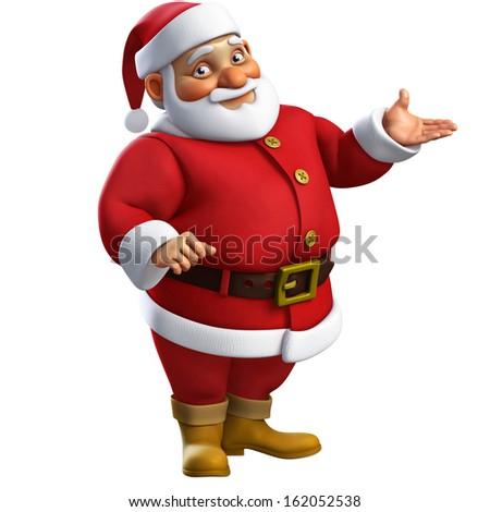 3d cartoon santa - stock photo