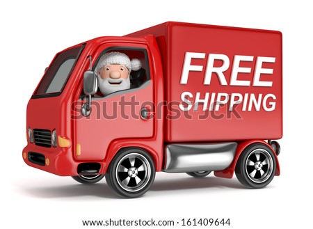 3d cartoon santa claus in free shipping truck - isolated - stock photo