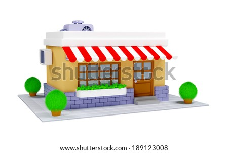 3d cartoon shop building in old style on a white background - stock photo