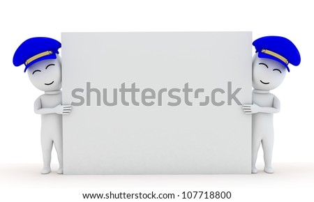 3d cartoon small people worker  is holding empty board - stock photo