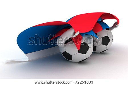 3D cartoon Soccer Ball characters with a Serbia flag. - stock photo