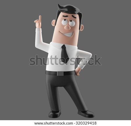 3D cartoon styled illustration of simple merry funny man in a suit and tie, black and white, isolated cut out without background,  hand pointing at empty space for advertising - stock photo