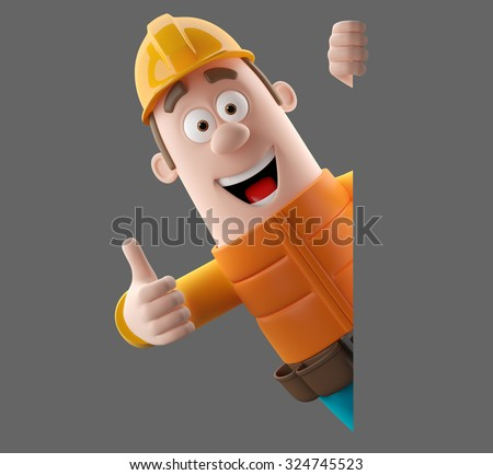 3D cartoon worker character, funny isolated engineer man