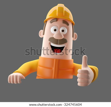 3D cartoon worker character, funny isolated engineer man  - stock photo