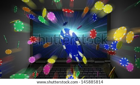 3D casino chips display on laptop screen - stock photo
