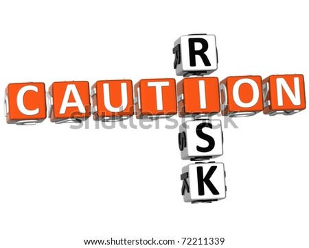 3D Caution Risk Crossword on white background - stock photo