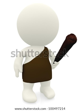 3D caveman with a stick - isolated over a white background