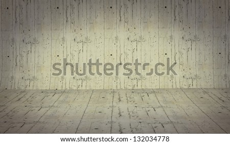 3D cement background empty surface - stage brick paving - stock photo