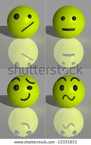 3D CG Render Facial Expression Yellow Smilies