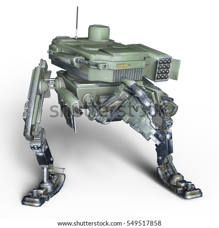3D CG rendering of a battle robot