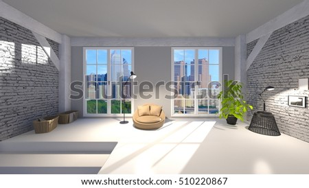 3D CG rendering of a bed room