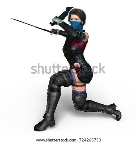 3D CG rendering of a female knight