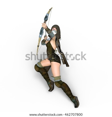 3D CG rendering of a female master archer
