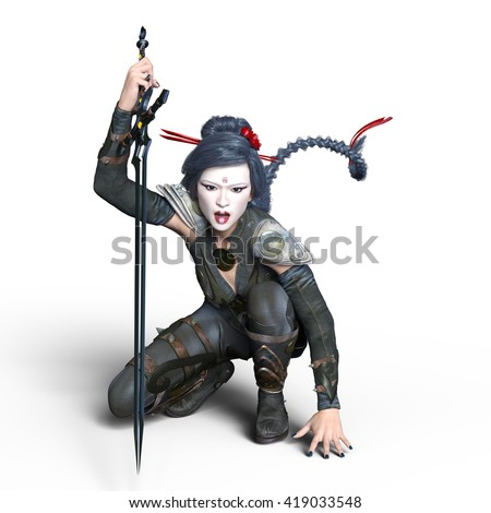3D CG rendering of a female ninja - stock photo