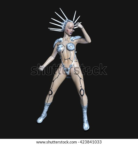 3D CG rendering of a female robot