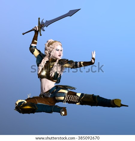 3D CG rendering of a female warrior - stock photo