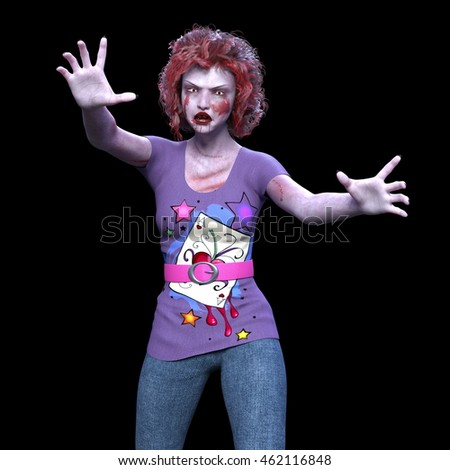 3D CG rendering of a female zombie