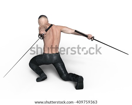 3D CG rendering of a fencer