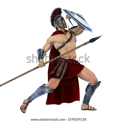 3D CG rendering of a gladiator - stock photo