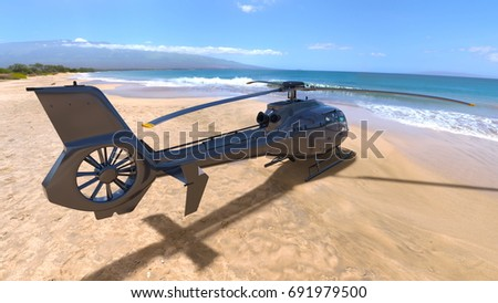 3D CG rendering of a helicopter