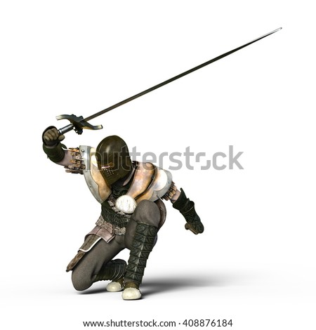 3D CG rendering of a knight