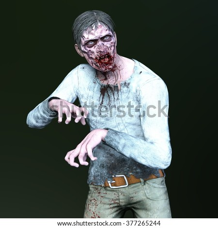 3D CG rendering of a male zombie - stock photo
