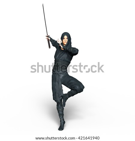 3D CG rendering of a ninja