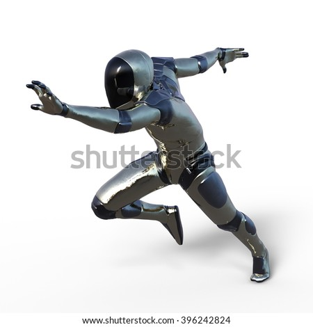 3D CG rendering of a robot - stock photo
