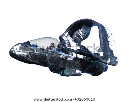3D CG rendering of a space ship