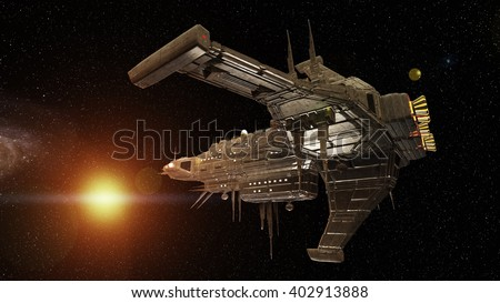 3D CG rendering of a space ship - stock photo