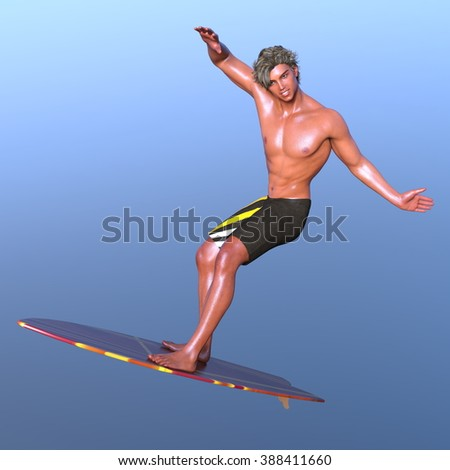 3D CG rendering of a surfer