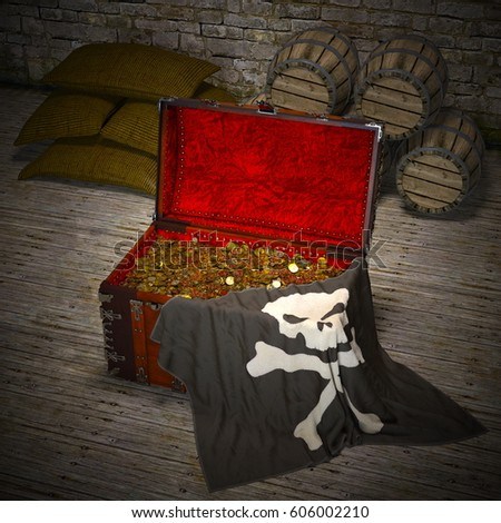 3D CG rendering of a treasure chest