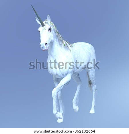 3D CG rendering of a unicorn - stock photo