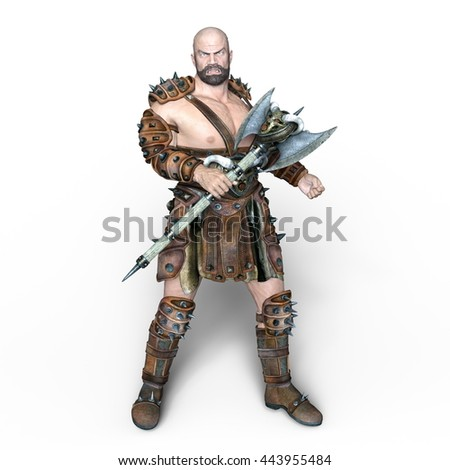 3D CG rendering of a warrior - stock photo