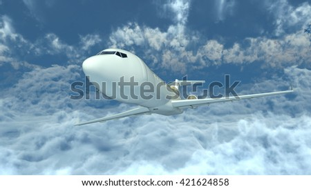 3D CG rendering of an airplane - stock photo