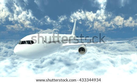 3D CG rendering of an airplane