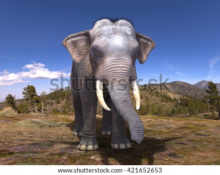 3D CG rendering of an elephant