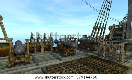 3D CG rendering of cannon on the boat - stock photo
