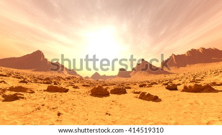 3D CG rendering of desert - stock photo