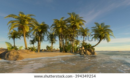 3D CG rendering of island