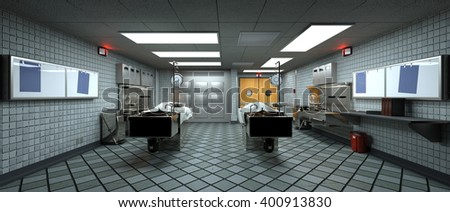 3D CG rendering of morgue - stock photo