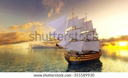 3D CG rendering of sailing boat - stock photo